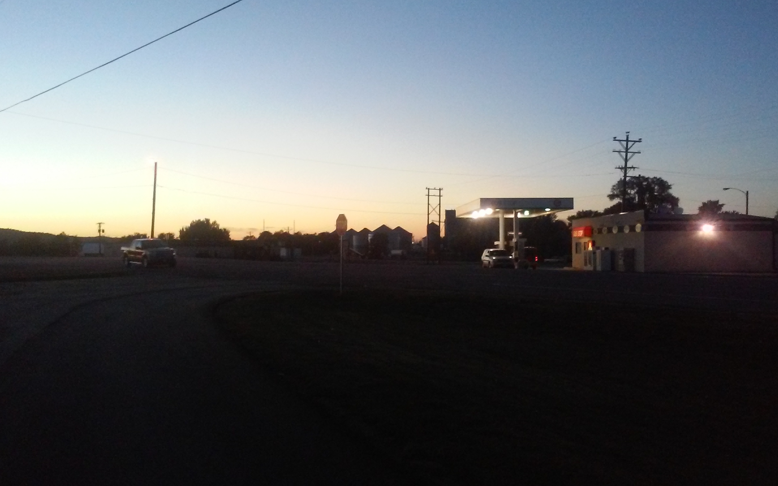 Small town at Sunset- Lake Andes South Dakota